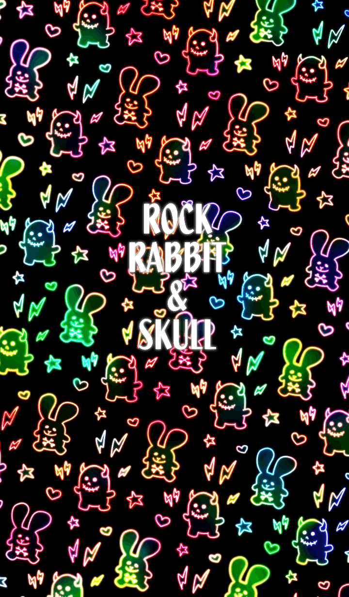 Rock rabbit and skull / colorful neon