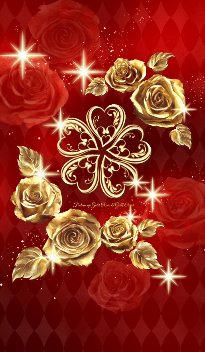 Fortune up Gold Rose & Gold Clover Red