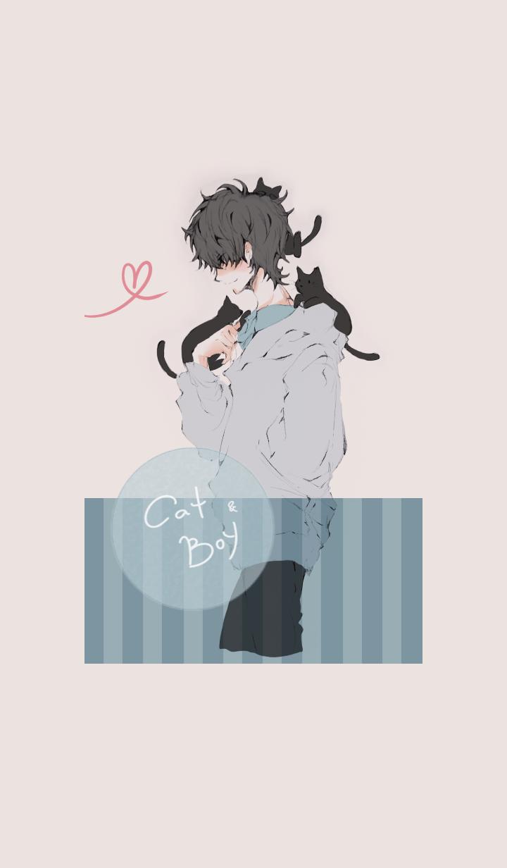 猫と戯れる男子・黒髪