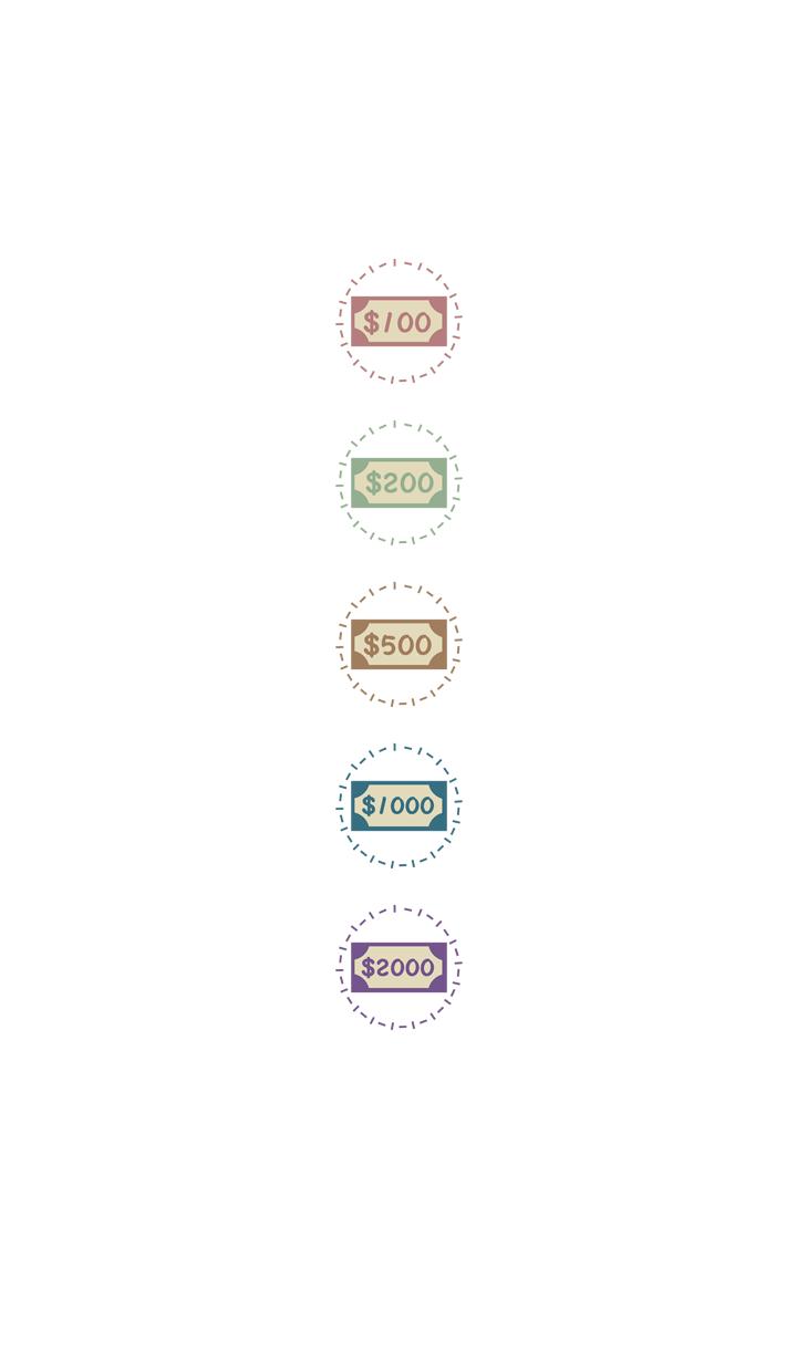 可爱的钞票-虚线