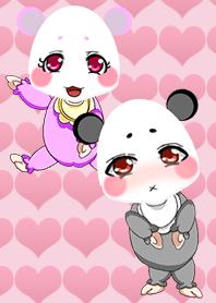可愛熊貓寶寶黑色和白色+粉紅色