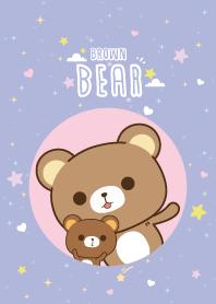 Brown Bear Cute Galaxy Violet