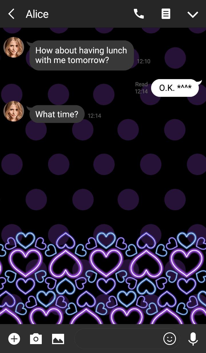 Neon heart -Purple polka dot-