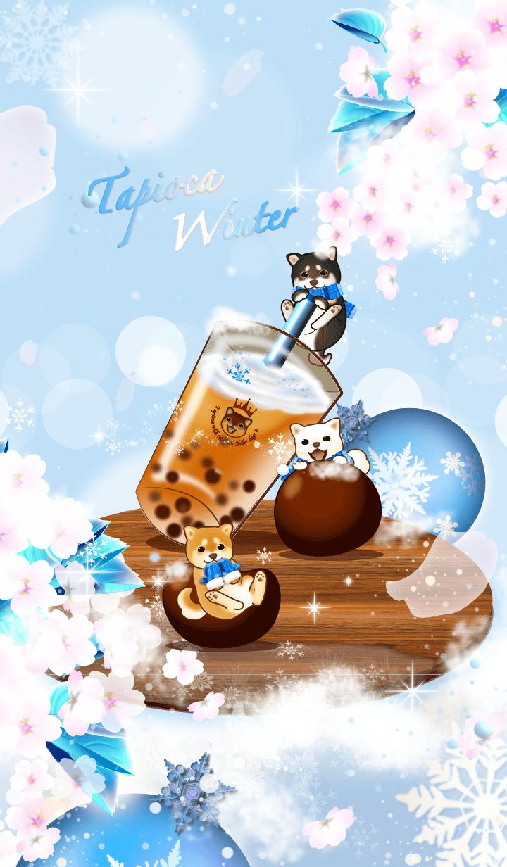 Tapioca winter tea with Shiba dogs