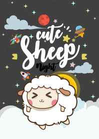 Cute Sheep Galaxy Night