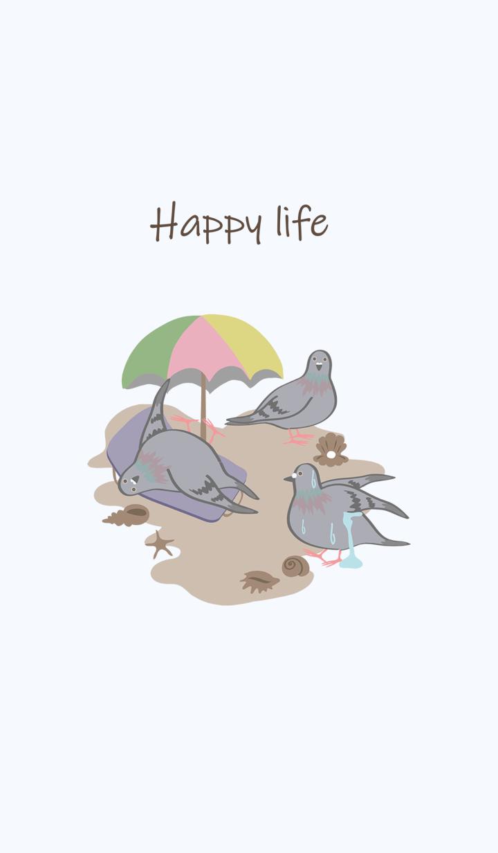 Pigeons - beach sun