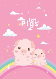 Fat Pigs Rainbow Star Pink