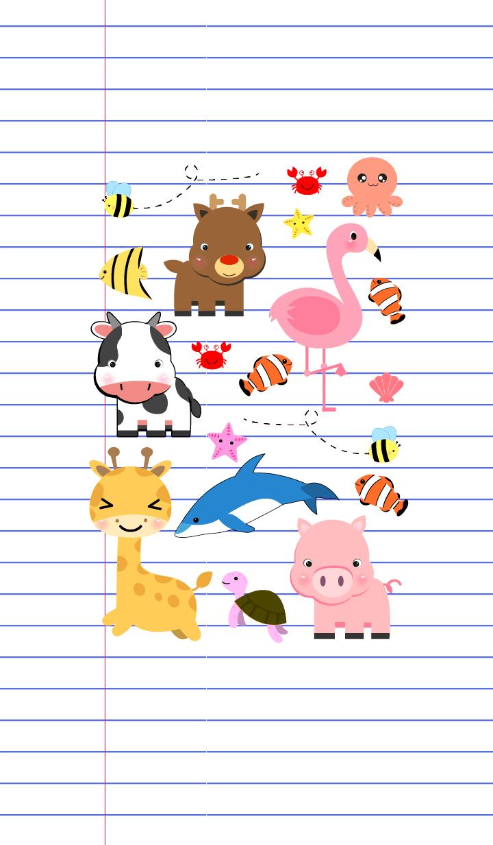 Cute Animals On Paper theme(jp)