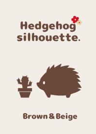 Hedgehog silhouette.Brown