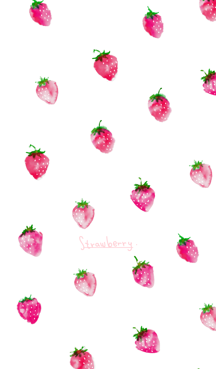 watercolor painting: Strawberry pink2