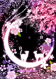 Crescent Moon and cherry tree and cat