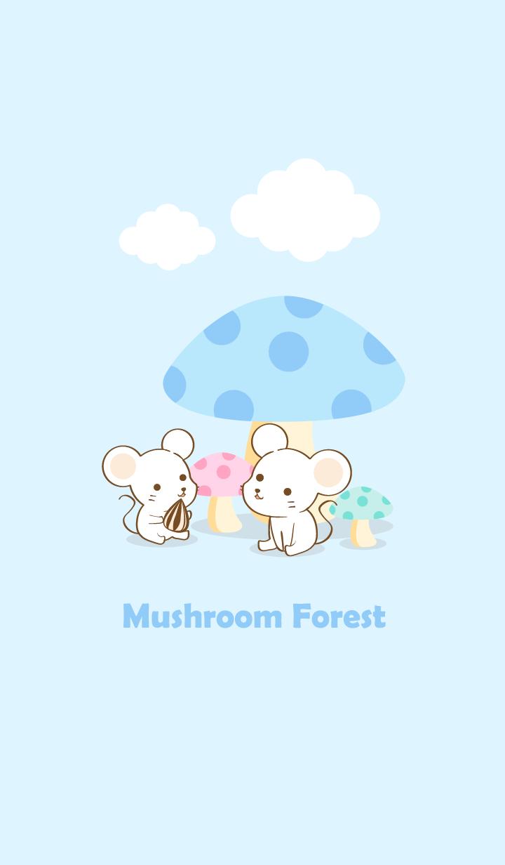 mushroom forest white mouse