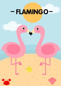 Pink Flamingo on the Beach Theme