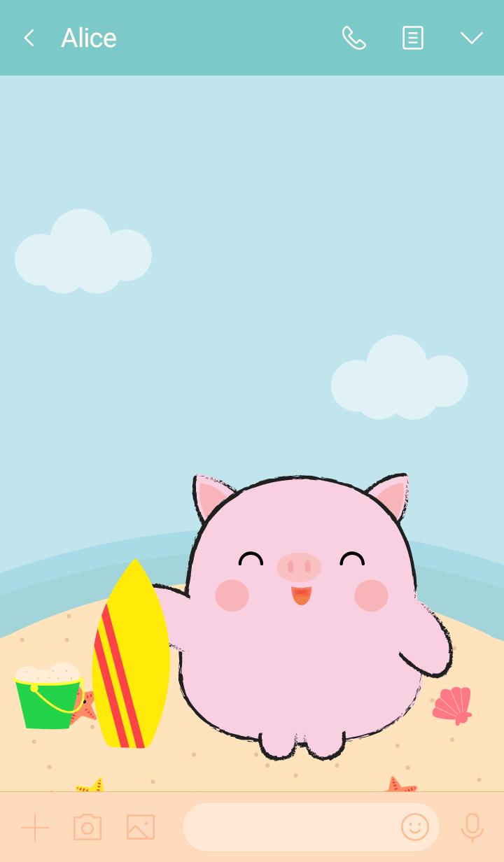 Summer Fat Cute Pig theme