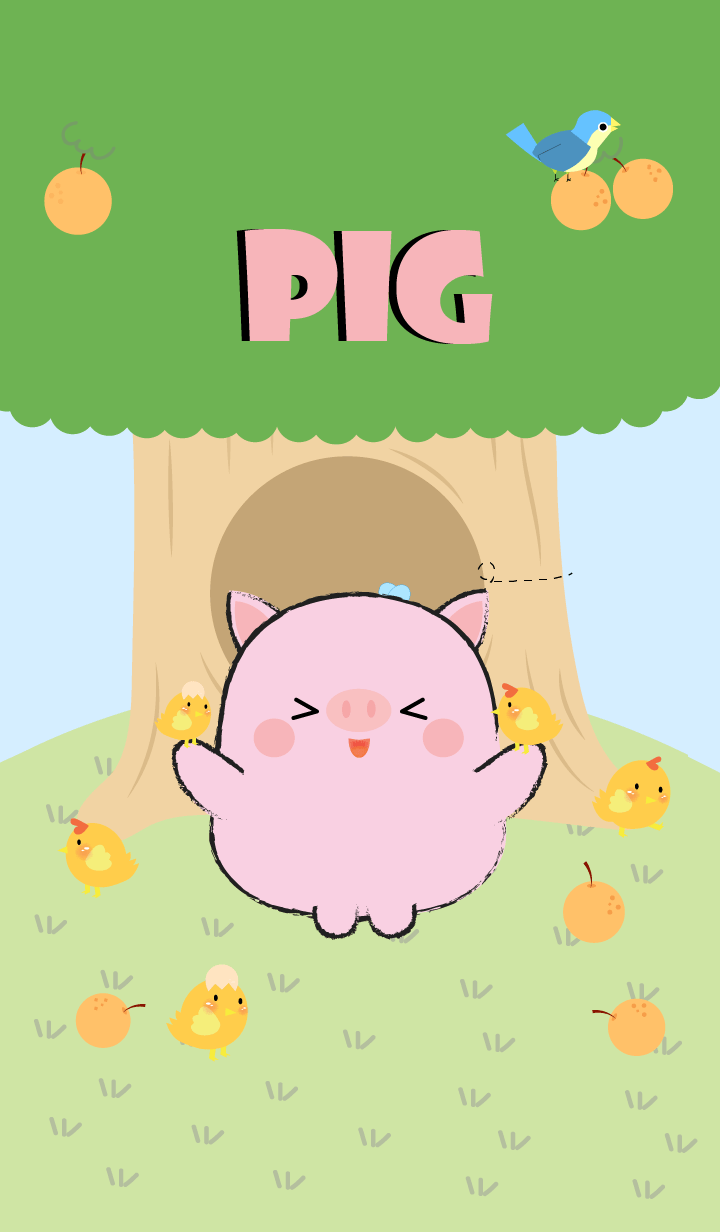 Cute Pig With Tree Theme (jp)