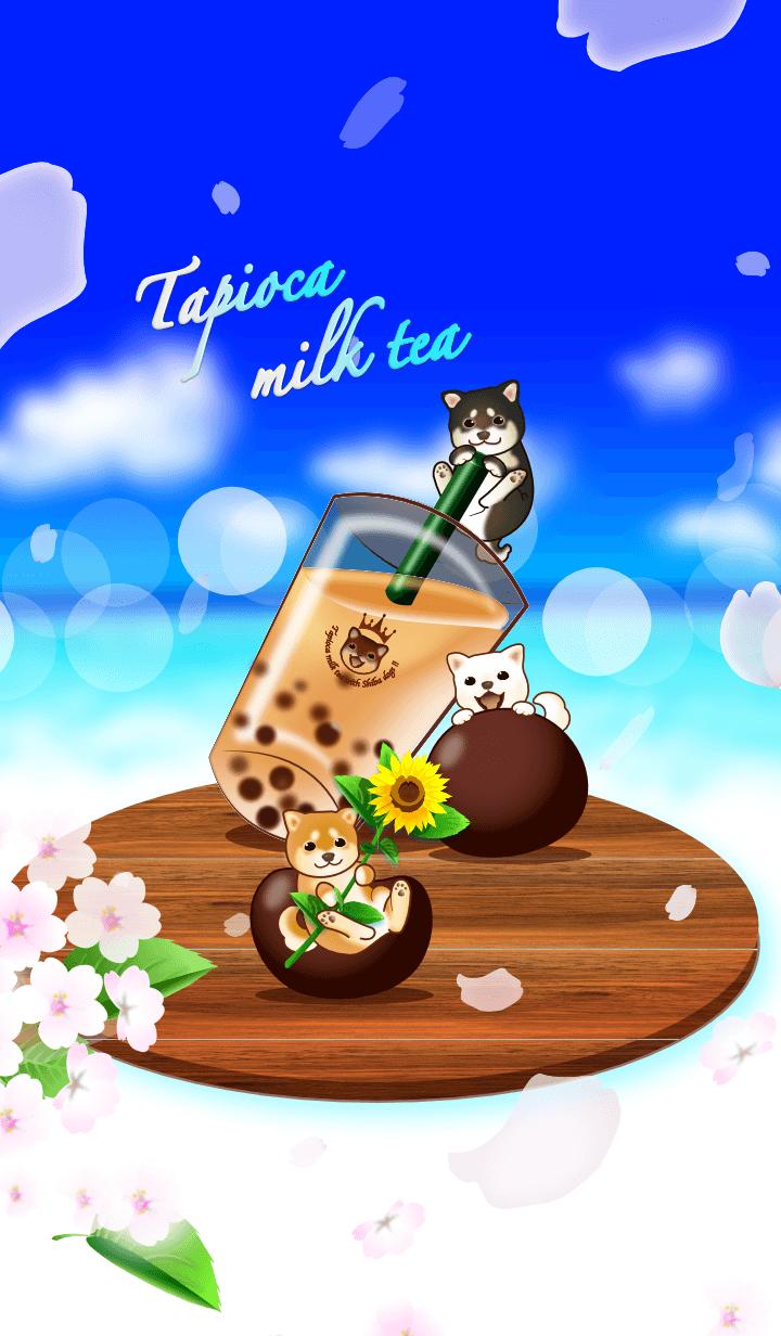 Tapioca milk tea with dogs(Shiba dog)
