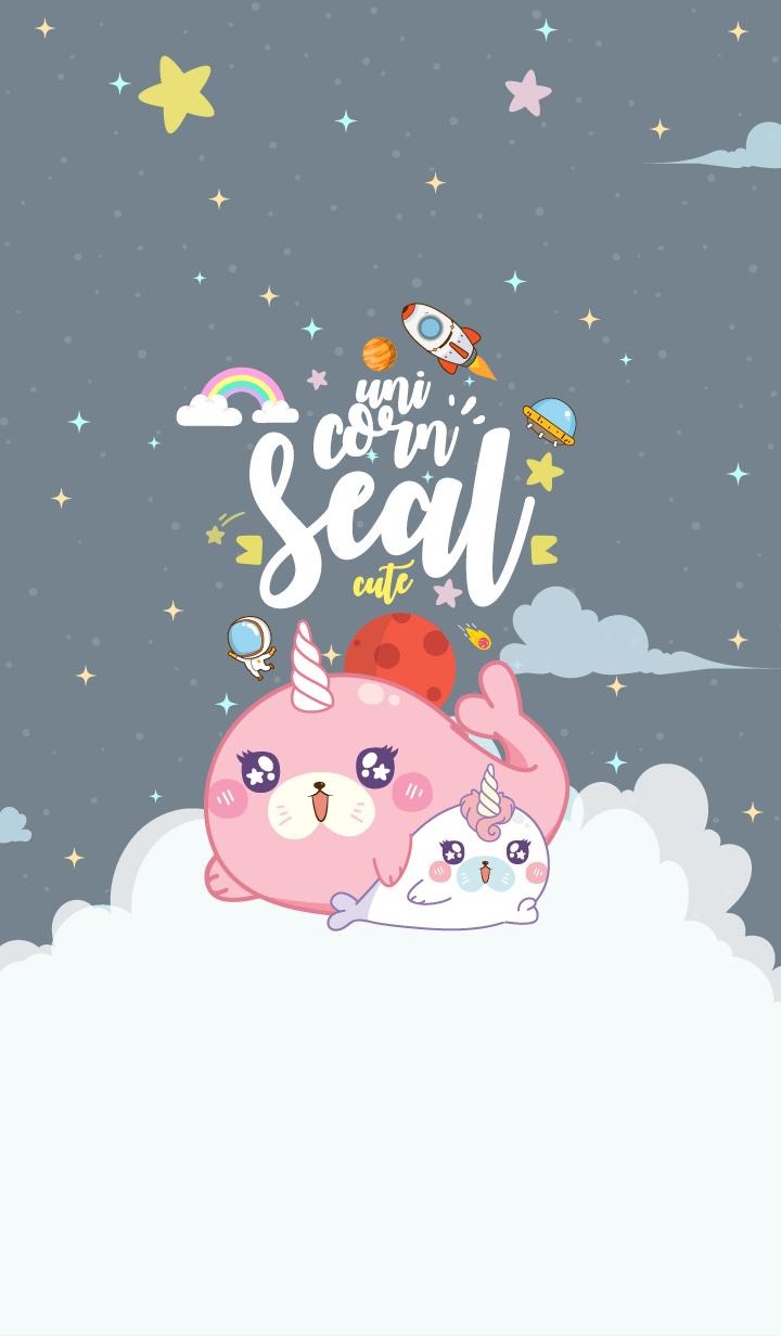 Seal Unicorn Galaxy Cute Gray