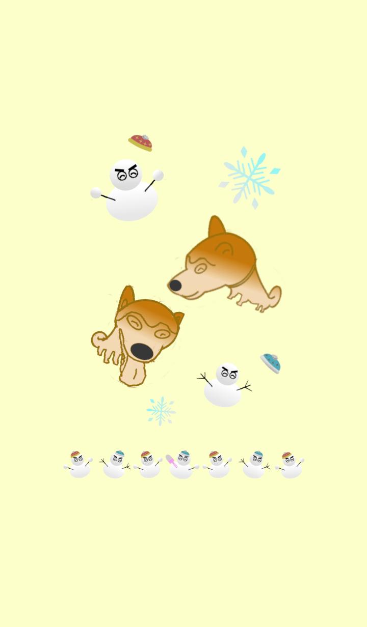 雪だるまと柴犬