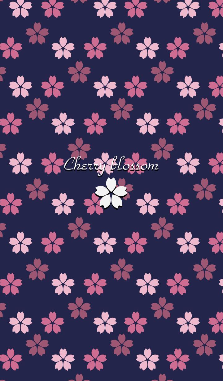 Cherry blossom -Navy blue-