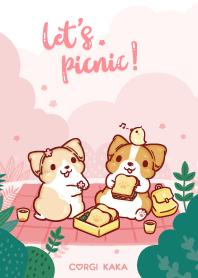 柯基犬卡卡 - 春日野餐趣