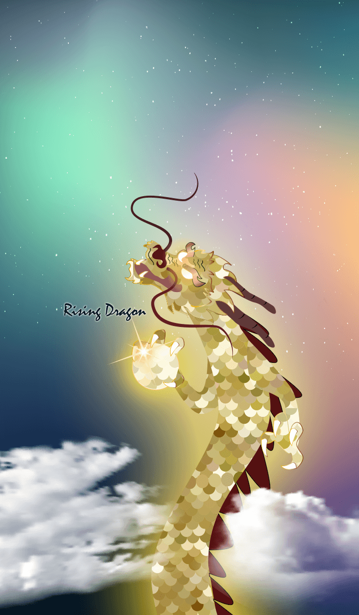 Rising Dragon of Gold Scales