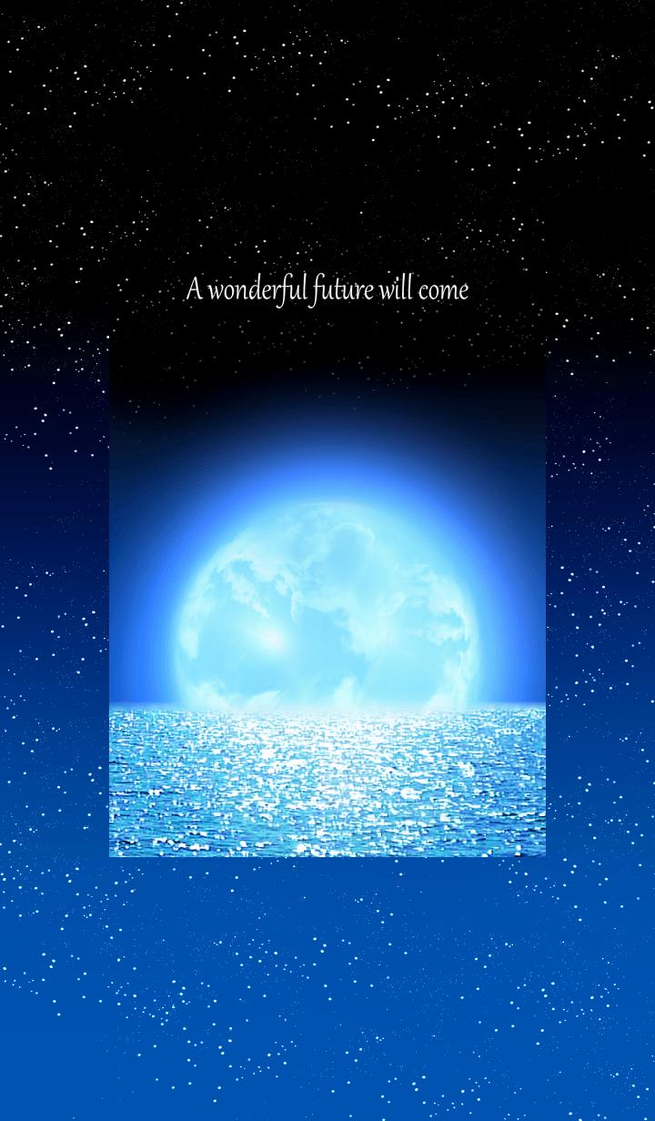 夜の綺麗な月と海の景色