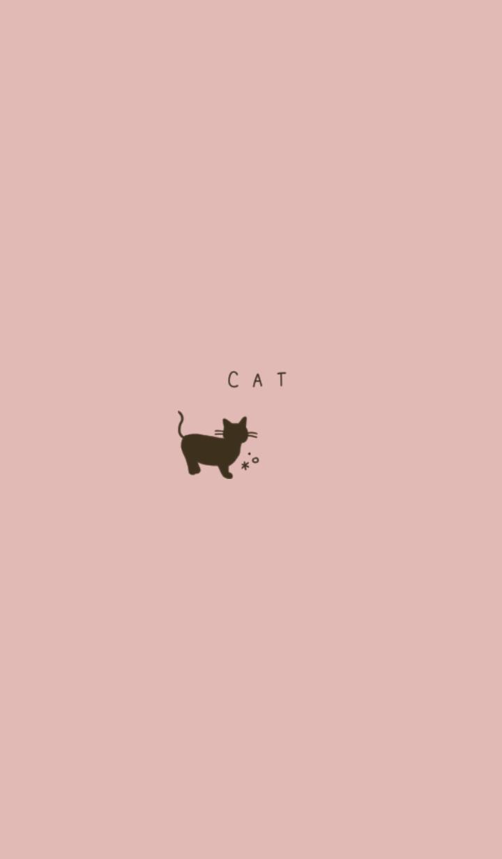 ピンクベージュと猫。ブラウン。