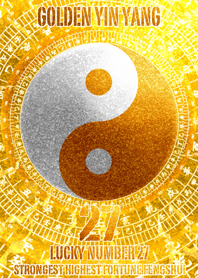 Golden Yin Yang Lucky number 27