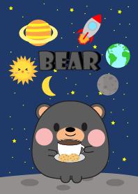 Cute Black Bear In Galaxy Theme