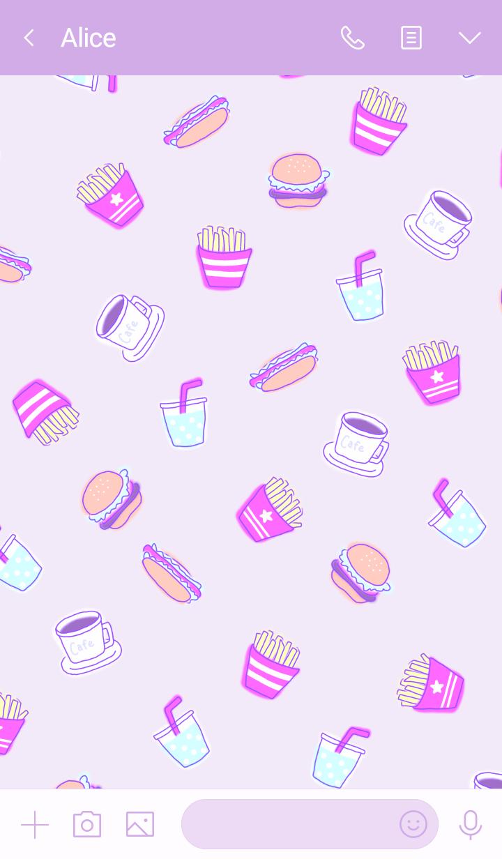 อาหารจานด่วน: สีชมพูม่วง WV