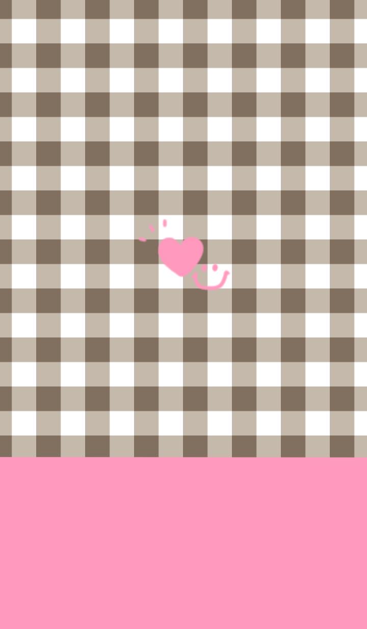 Brown check & pink