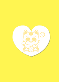 Cute gold luck invitation cat Yellow