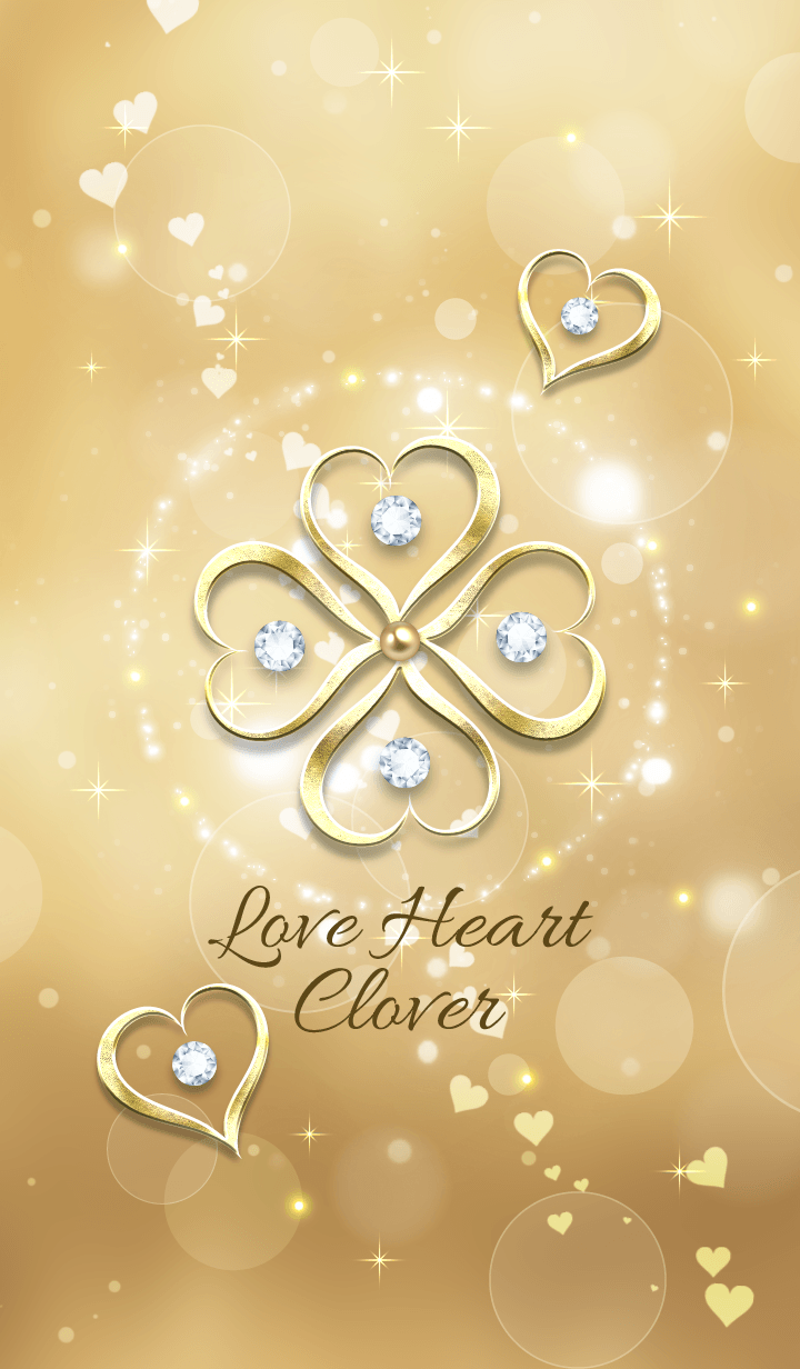 Fortune rise Love Heart Clover Gold !.