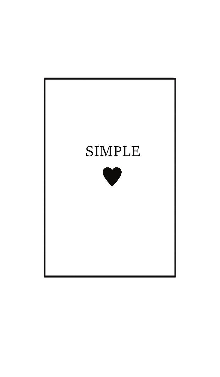 SIMPLE HEART =white black=