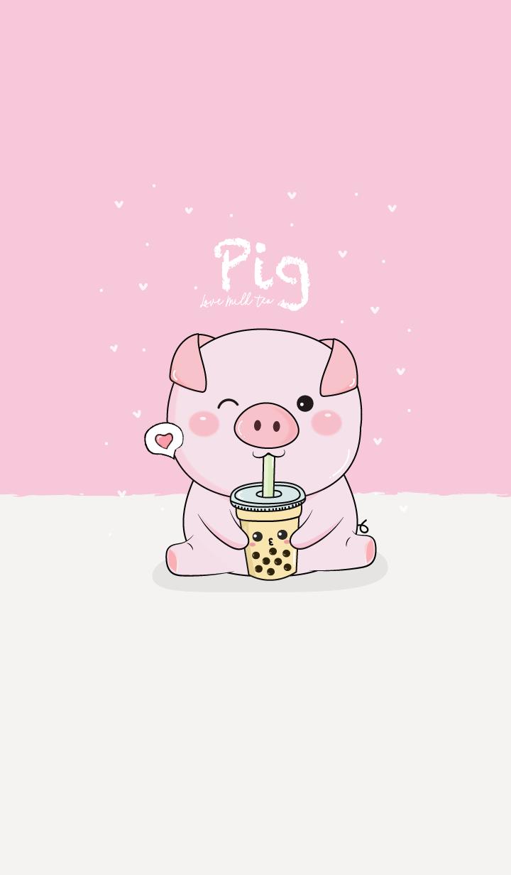 Pig & Milk Tea (Pink)