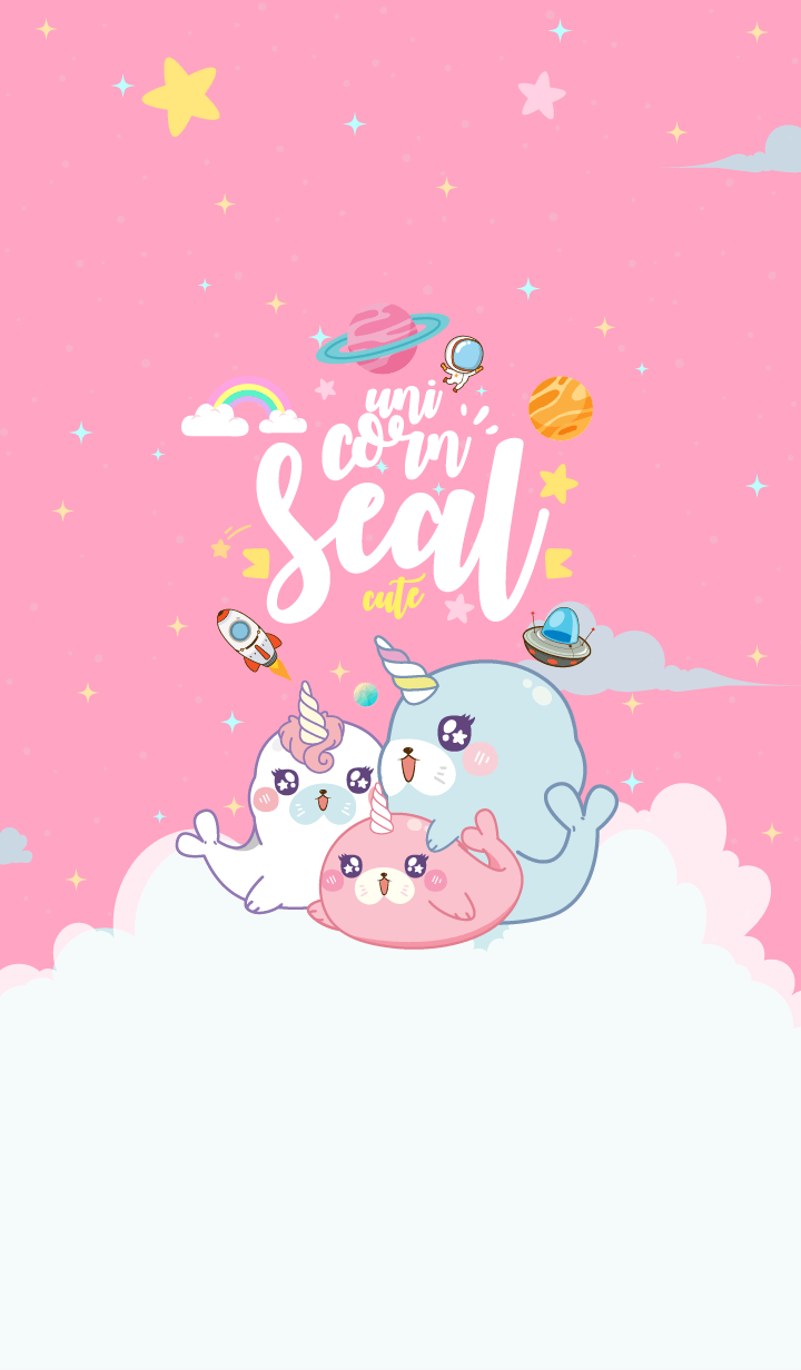 Seal Unicorn Galaxy Cute Pink