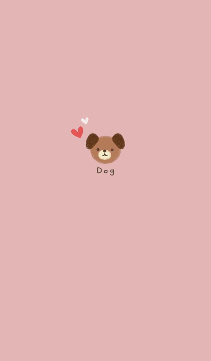 シンプルな可愛い犬・くすみピンク