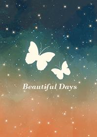 蝴蝶-浪漫夜空 橘色 綠色
