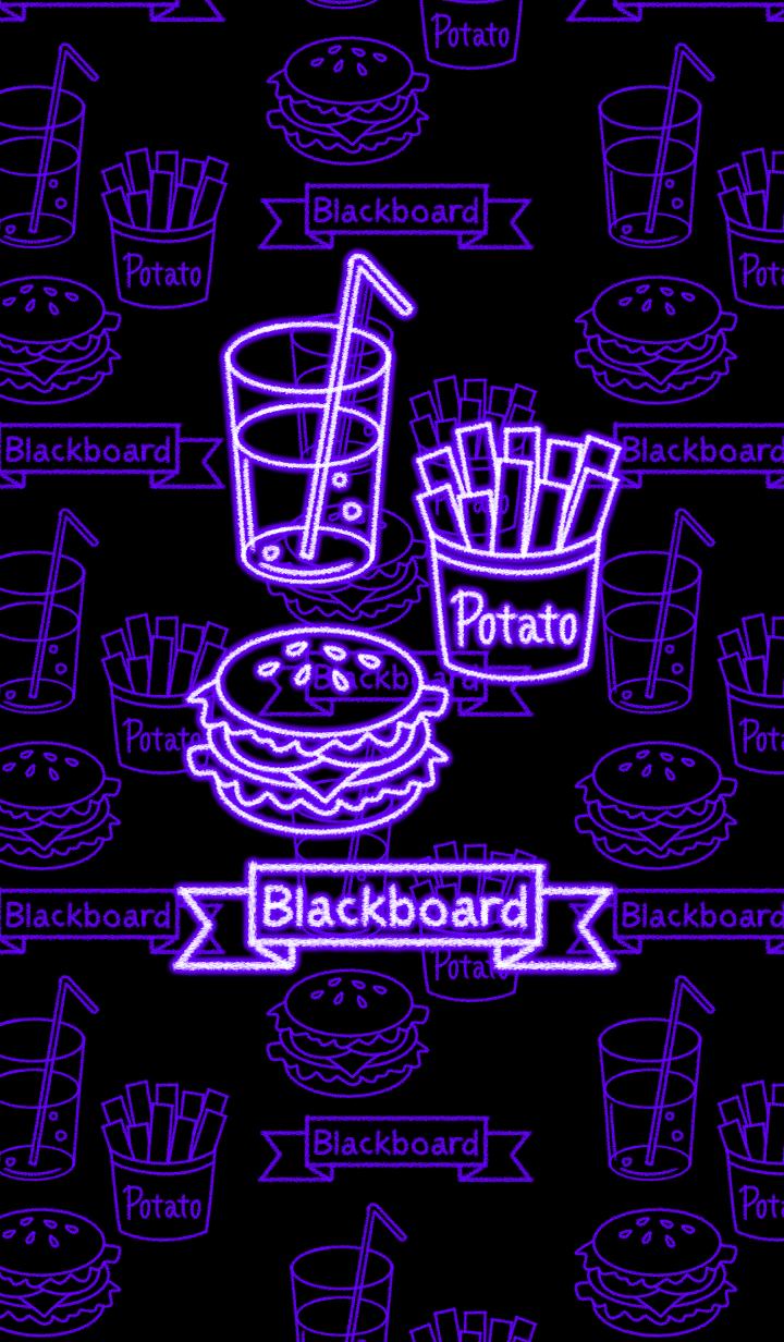 Blackboard -Purple neon food-