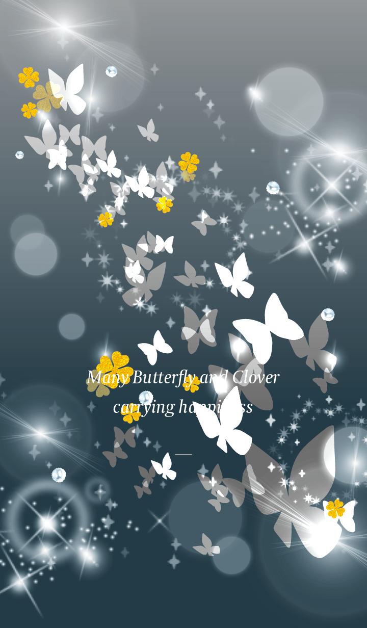 Gray : Lucky butterfly & clover