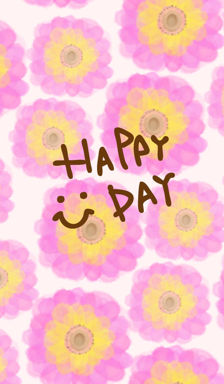 Watercolor pink flower - smile6-