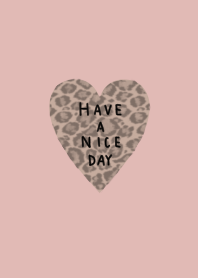 Pink beige and leopard print heart.