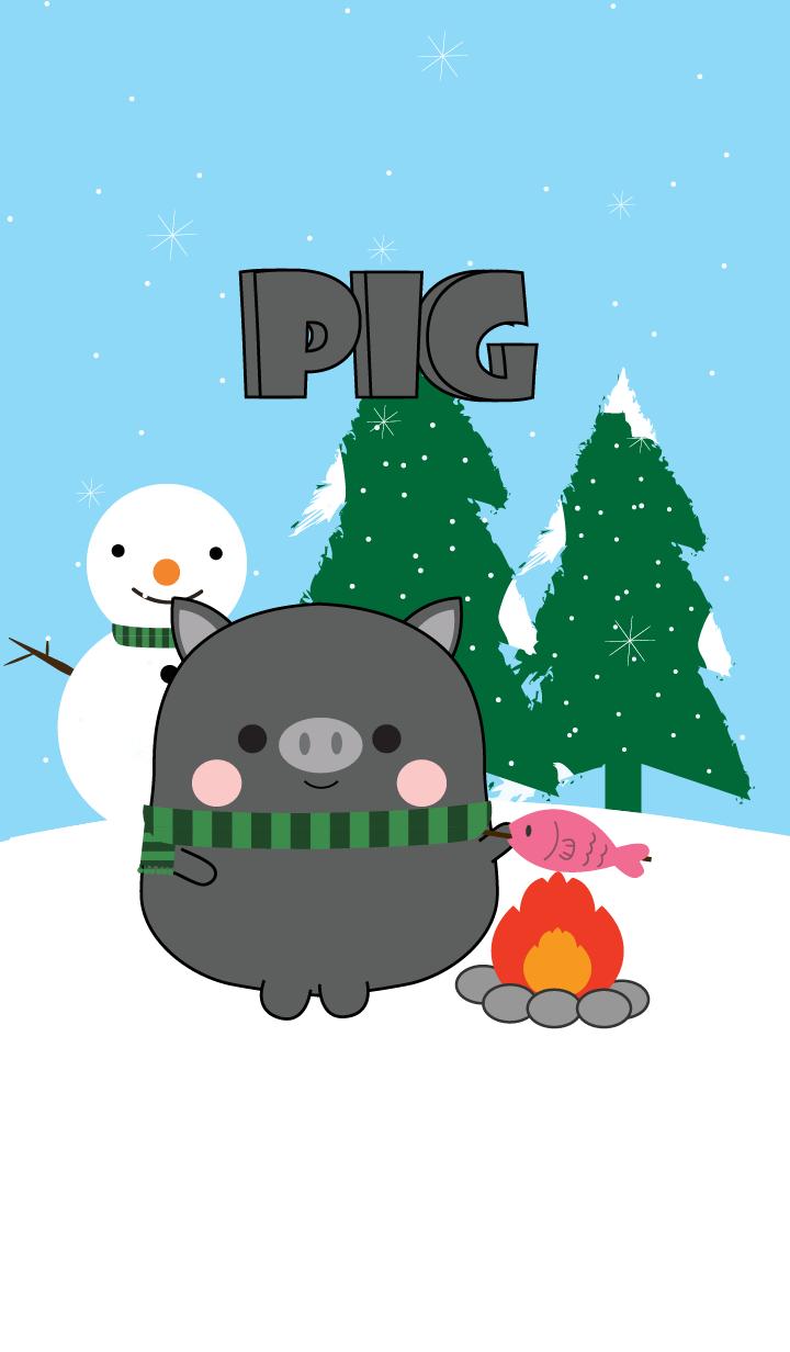 หมูดำจอมซนในฤดูหนาว