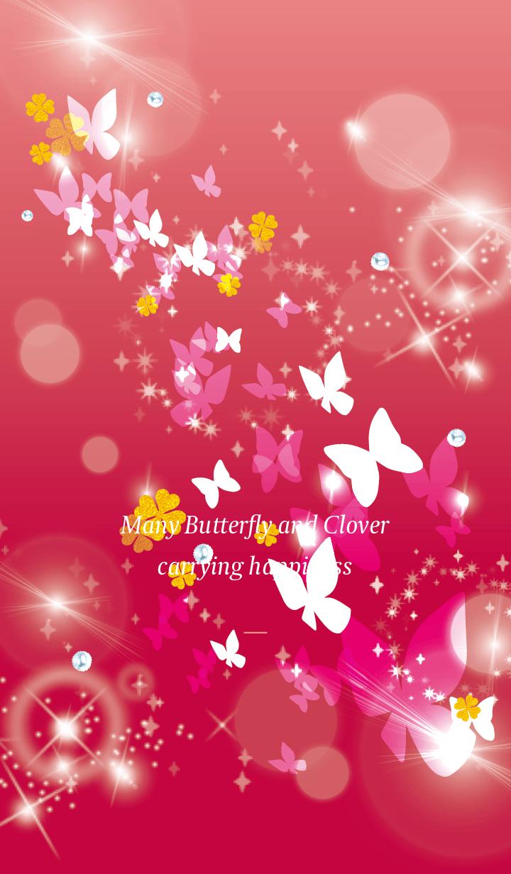 Beige Pink : Lucky butterfly & clover
