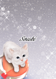 Souki White cat and marbles