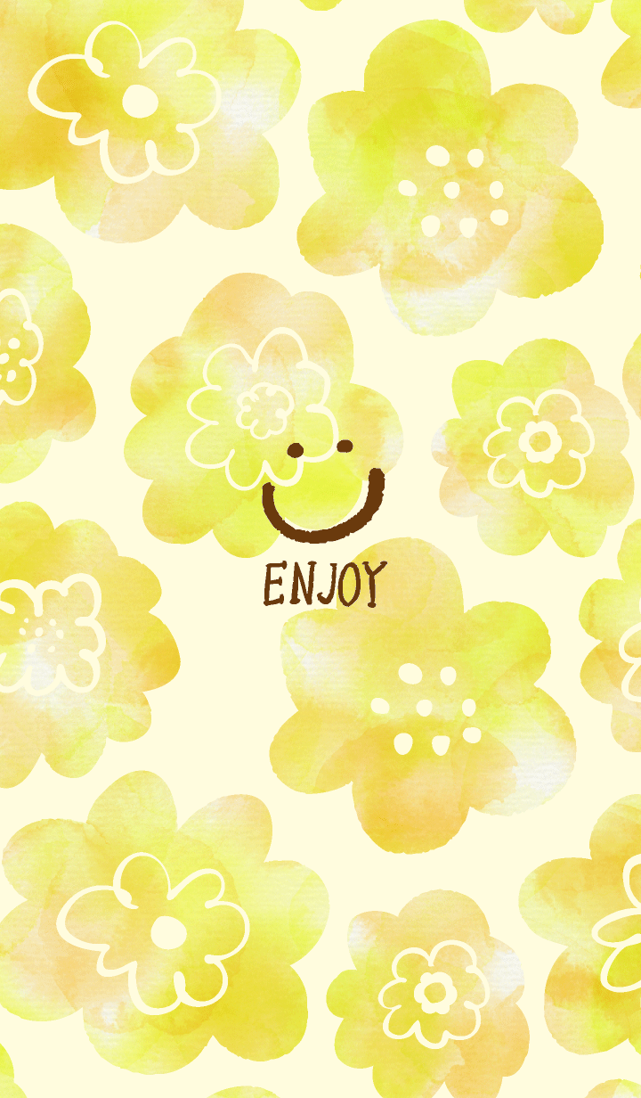 Yellow watercolor flower Smile4