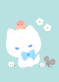 白色小貓和朋友(綠色)