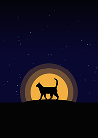 Cat silhouette in front of moonlight
