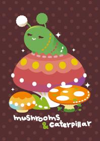 theme of mushrooms & caterpillar