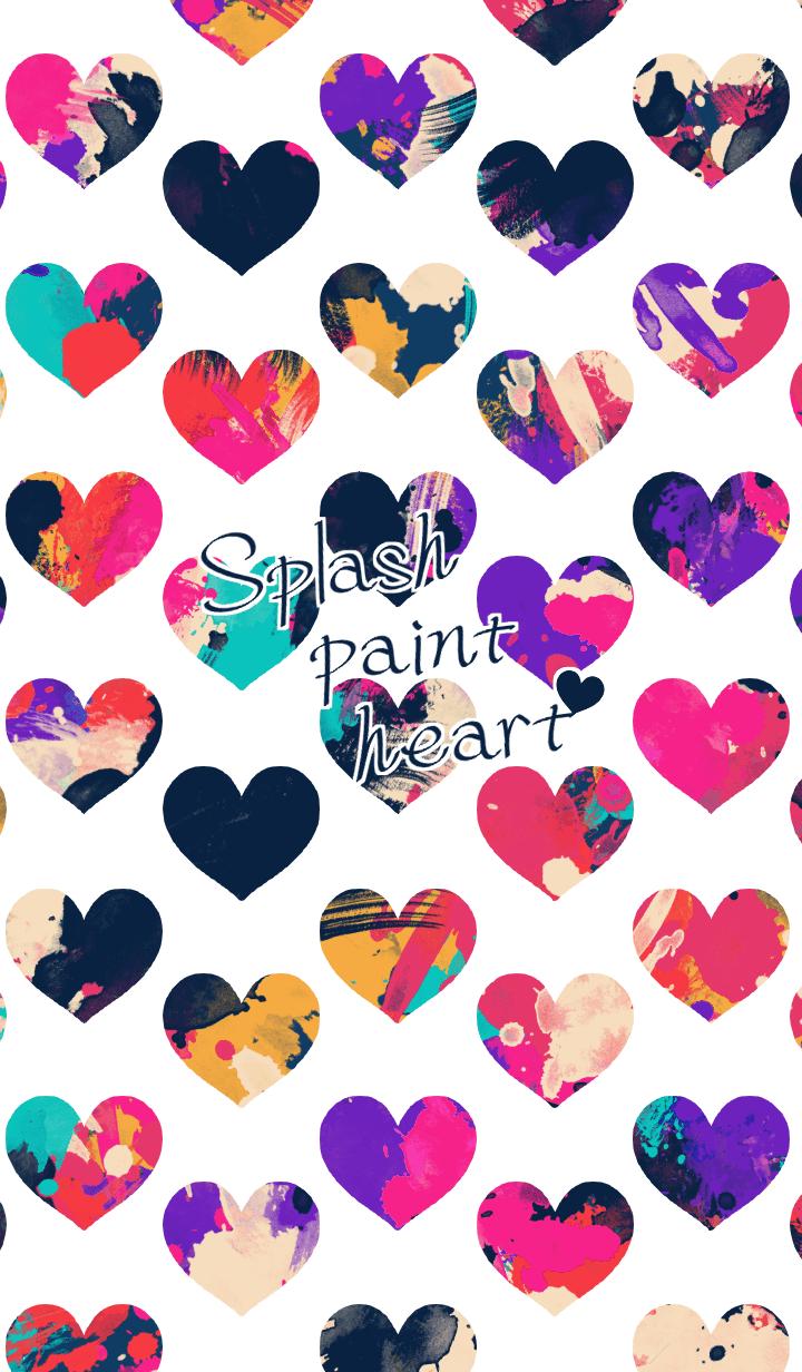 Splash paint heart -White-